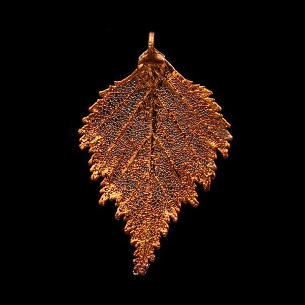 Birch Leaf Pendant - Copper Plated - Medium