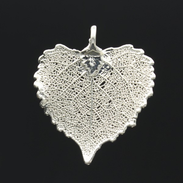 Cottonwood Leaf Pendant - Silver Plated