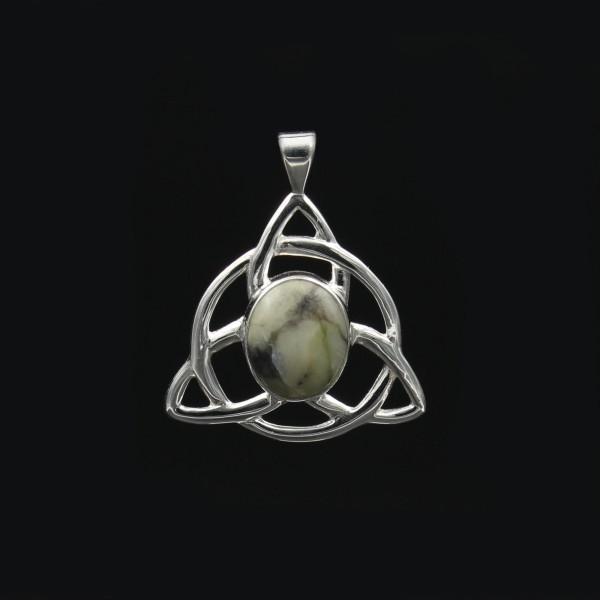 Skye Marble Celtic Triquetra Silver Pendant