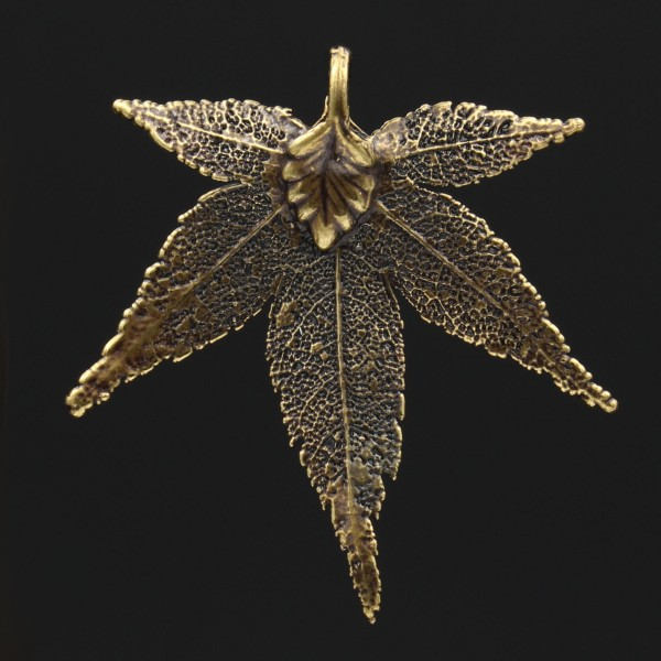 Japanese Maple Leaf Pendant - Antique Brass Plated