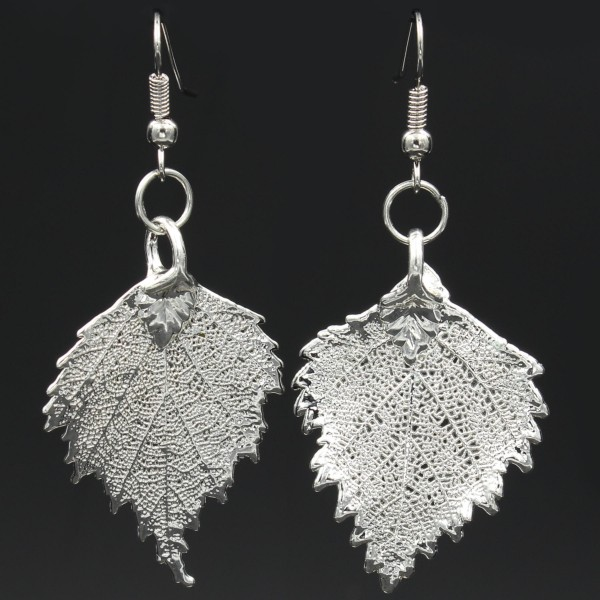 Birch Leaf Earrings - Silver Plated