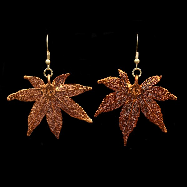 Japanese Maple Leaf Earrings - Copper Plated