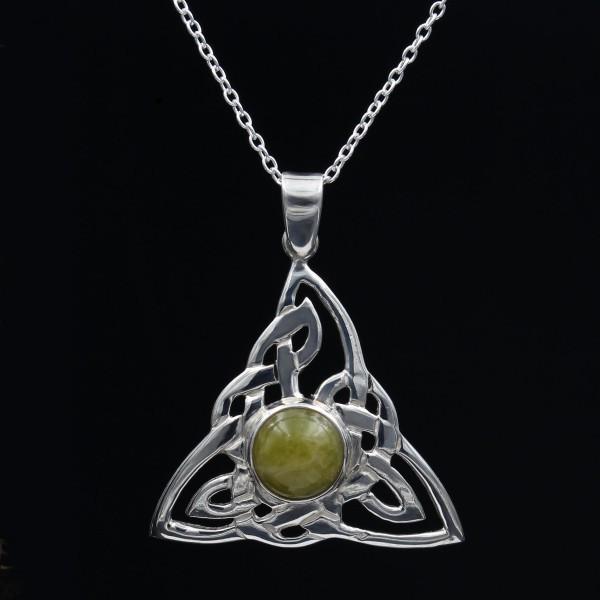 Schottischer Grüner Marmor Anhänger keltisches Dreieck - Sterlingsilber