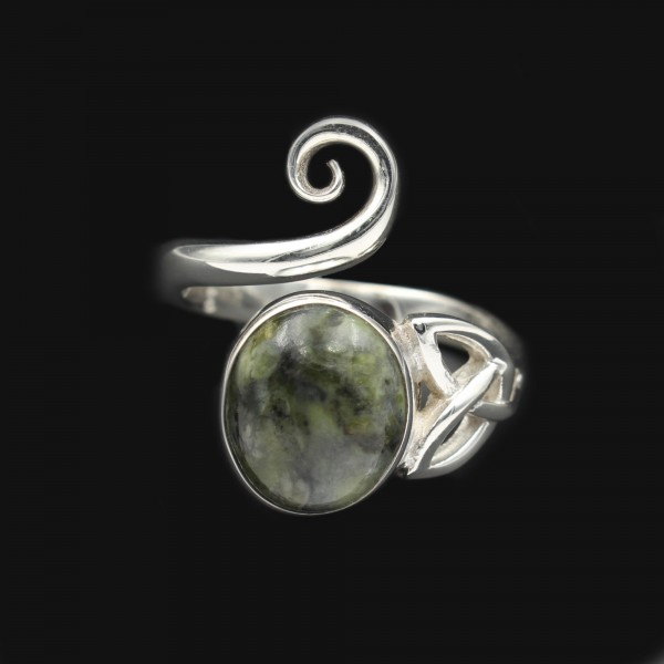 Scottish Skye Marble Celtic Swirl Silver Ring
