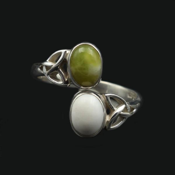 Doppelstein Ring keltisches Design - Silber - Unikat 1
