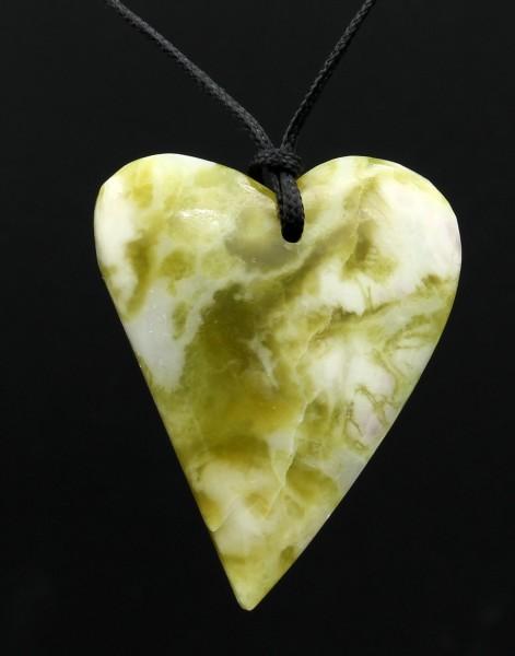Schottischer Grüner Marmor Herzform Anhänger - Mittel Unikat 1