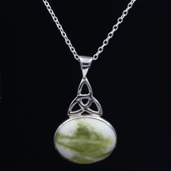 Schottischer grüner Marmor Anhänger Trinity Drop - Silber