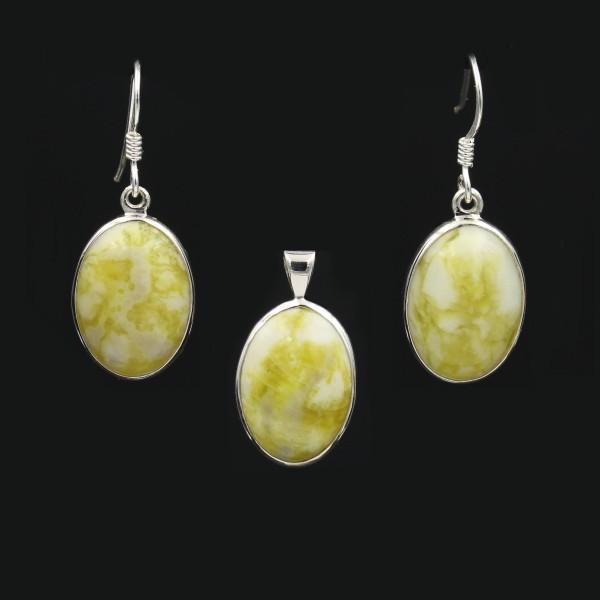 Schmuckset schottischer grüner Marmor Silber