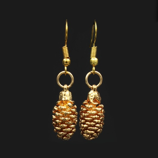 Alder Pine Cone Earrings - Gold Plated
