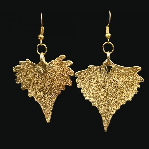 Blattschmuck Pappelblatt Ohrringe Gold