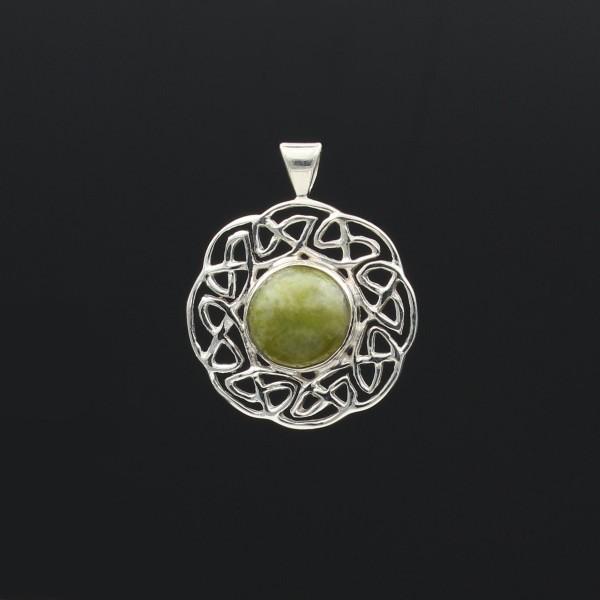 Schottischer grüner Marmor Anhänger keltische Sonne Silber