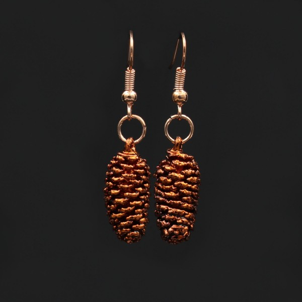 Alder Pine Cone Earrings - Copper Plated