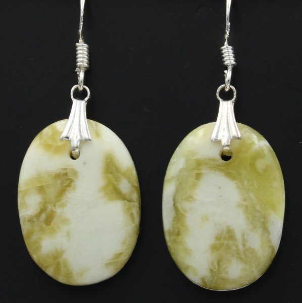 Schottischer Grüner Marmor Ohrringe versilbert - Unikat 2