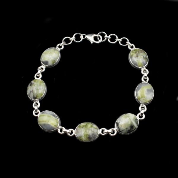 Skye Marmor Silber Armband - Verstellbar