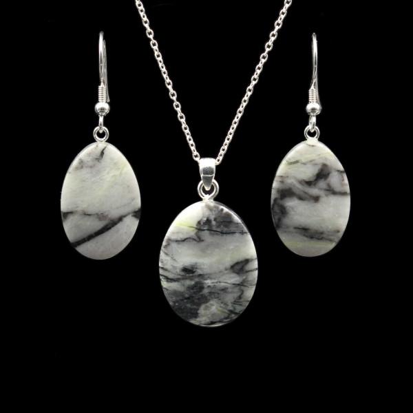 Scottish Skye Marble Jewelry Set - Handmade | Pendant + Chain + Earrings