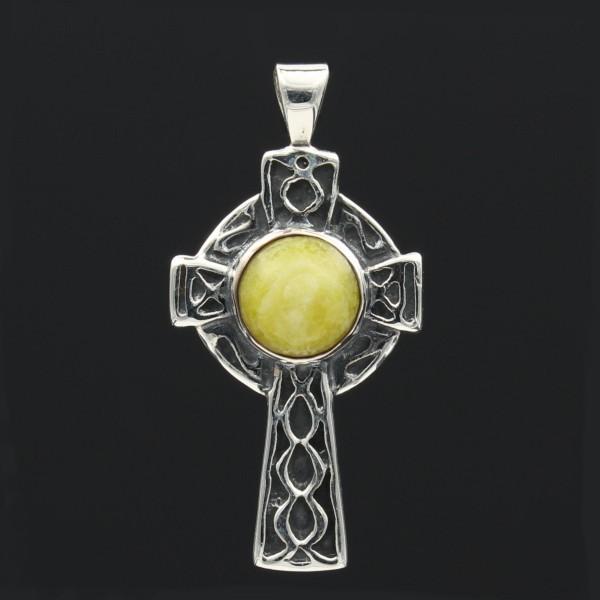 Schottischer grüner Marmor Anhänger keltisches Kreuz Silber - Unikat 1