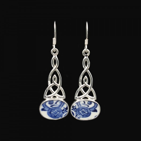 """British """"Old Willow"""" Porcelain Earrings - Celtic Knot"""