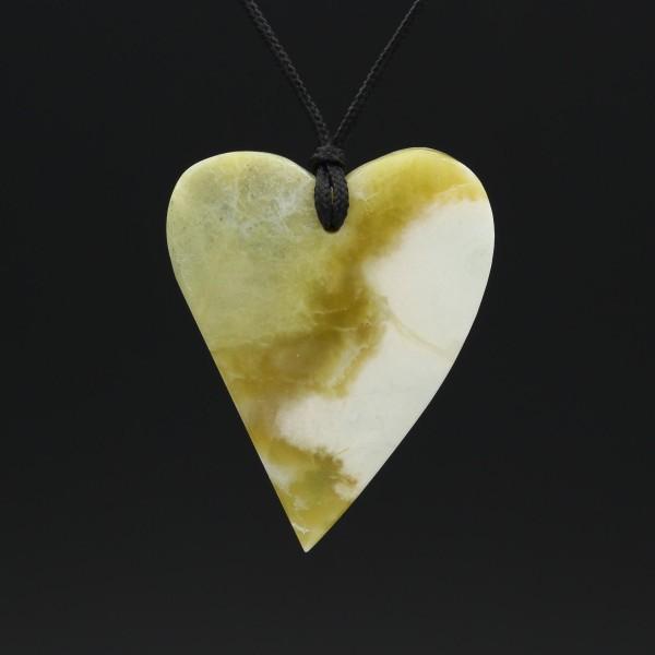 Schottischer Grüner Marmor Herzanhänger - Unikat 1