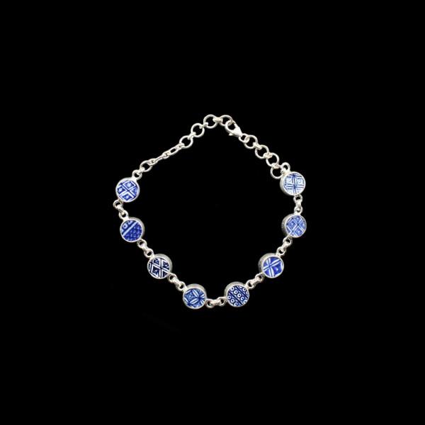 """Englisches Porzellan """"Old Willow"""" Silber Armband - Verstellbar"""