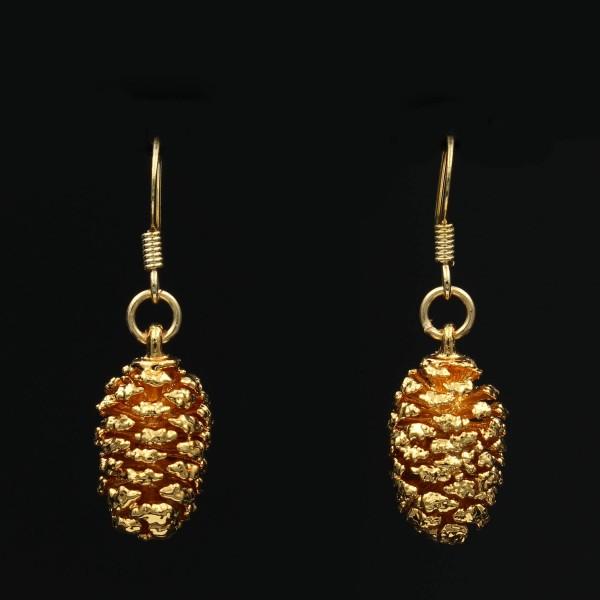 Erlenzapfen Ohrringe vergoldet - Unikat 2
