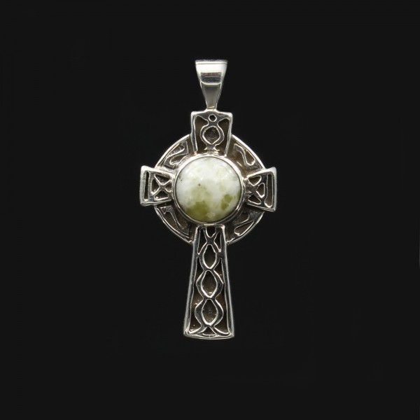 Schottischer Iona Marmor Keltisches Kreuz Silber Anhänger