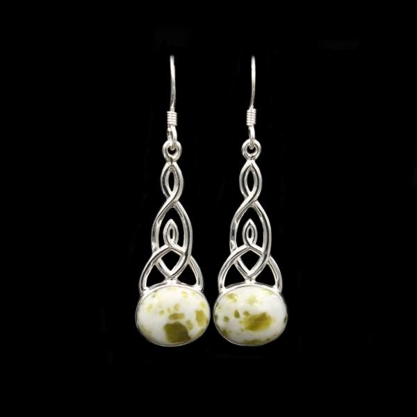 Iona Marmor Keltischer Knoten Silber Ohrringe - Groß