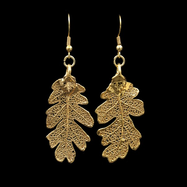 Oak Leaf Earrings - Gold Plated