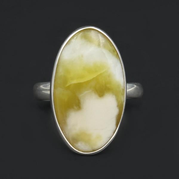 Schottischer Grüner Marmor Ring - Silber - Unikat 3