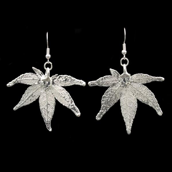 Japanese Maple Leaf Earrings - Silver Plated