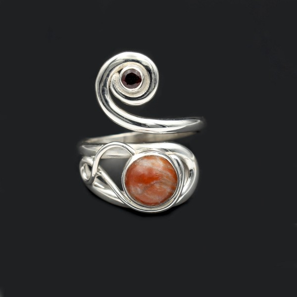 Celtic Swirl Ring With Garnet & Lewisian