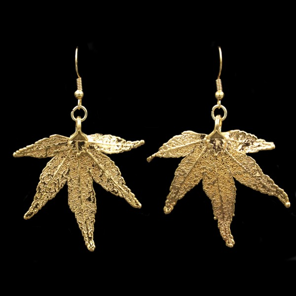 Japanese Maple Leaf Earrings - Gold Plated