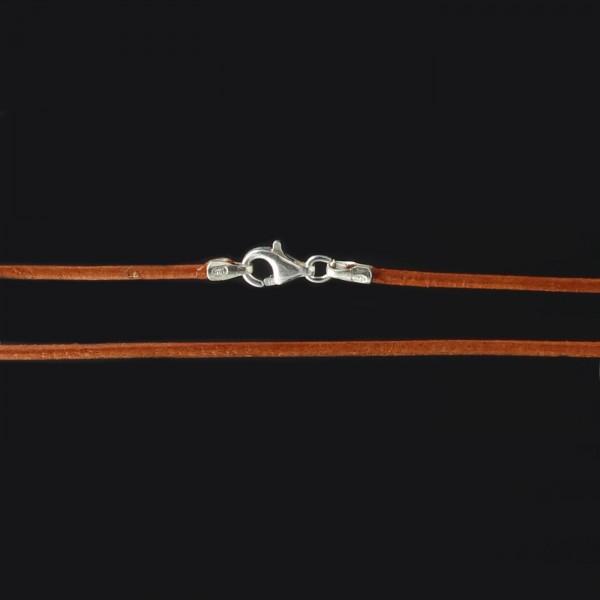 Lederband mit Karabiner - Ocker - 1,4 mm