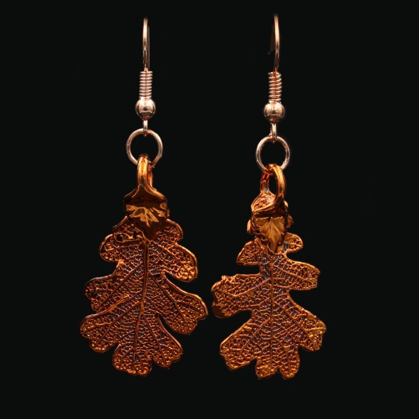 Copper Plated Oak Leaf Earrings