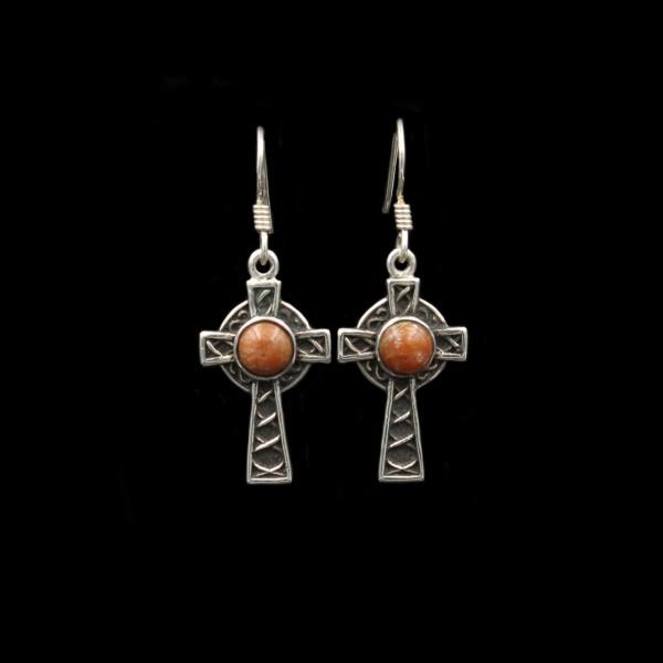 Schottischer Lewisian Ohrringe Keltisches Kreuz Silber