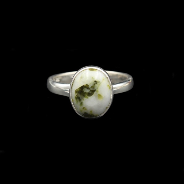 Silver Ring With Scottish Iona Marble - Adjustable