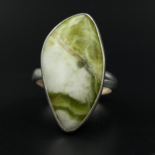 Schottischer Grüner Marmor Ring - Silber - Unikat 1