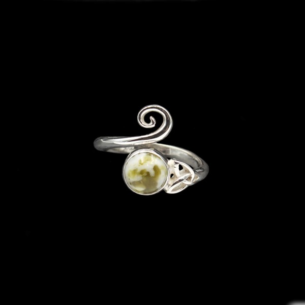 Celtic Swirl Ring With Iona Marble - Adjustable