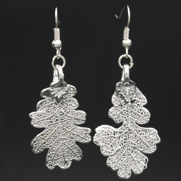 Oak Leaf Earrings - Silver Plated