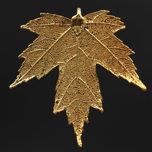 Silver Maple Leaf Pendant - Gold Plated