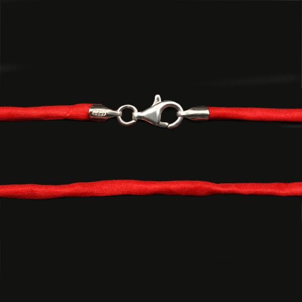 Seidenband mit Karabinerverschluss - Rot