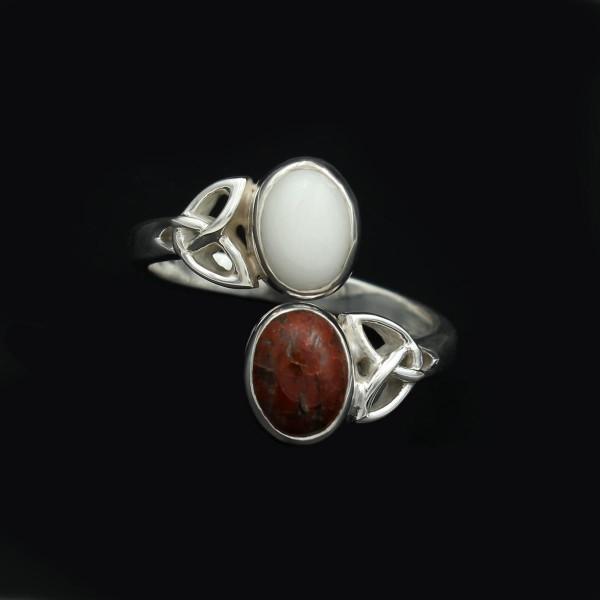 Doppelstein Ring keltisches Design - Silber - Verstellbar