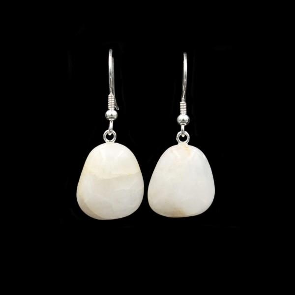 White Quartz Beach Pebble Earrings - Handmade