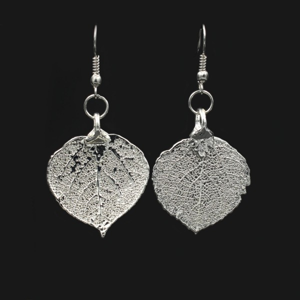 Aspen Leaf Earrings - Silver Plated
