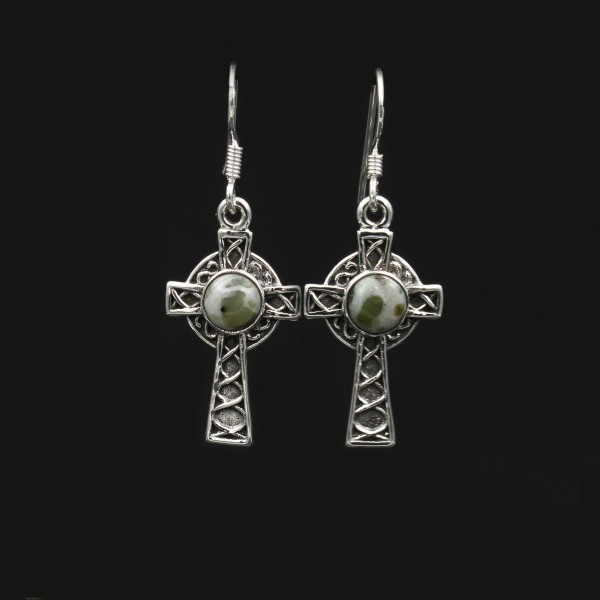 Iona Marble Celtic Cross Silver Earrings