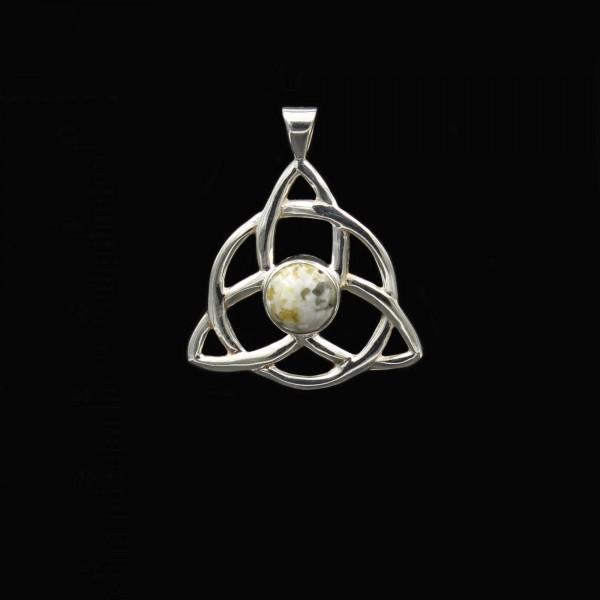 Scottish Iona Marble Celtic Triquetra Silver Pendant