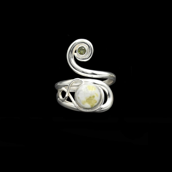Celtic Swirl Ring With Peridot & Iona Marble - Adjustable