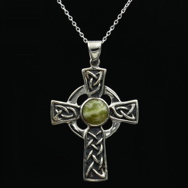 Schottischer grüner Marmor Anhänger keltisches Sonnenkreuz Silber - Unikat 1