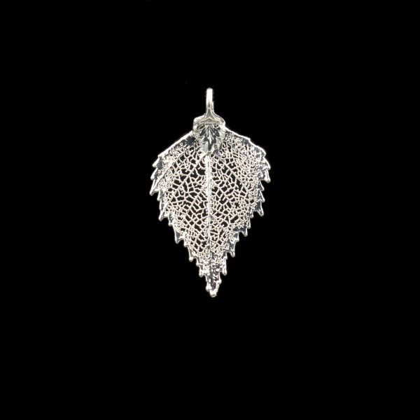 Birch Leaf Pendant - Silver Plated - Small
