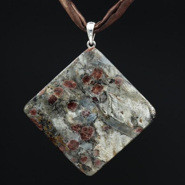 Granat-Glimmerschiefer Anhänger Silber - Unikat 1 - Rückseite