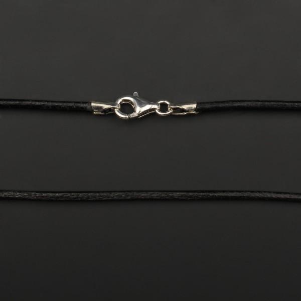 Lederband mit Karabinerverschluss - Schwarz